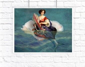 Mermaid Squid Shell Blue Large Print Digital Art Surreal Home Decor Beach House