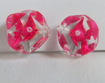 Vintage pink kissing fish with air bubbles earrings reverse carved lucite earrings lucite fish earrings lucite jewelry