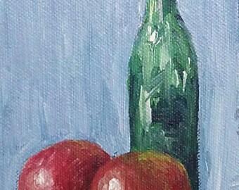 original acrylic painting on canvas panel 4x6 inch apple bottle still life