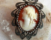 Detailed- Looking Left Shell Cameo - Silver Filigree Border - Beaded Frame