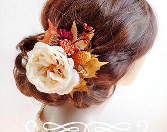 fall hair clip, autumn wedding headpiece, burnt orange, cream flower hair comb, gold floral headpiece, floral hair clip, fall wedding hair