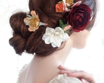 floral headpiece, flower hair pins, bridal hair clip flower, marsala, burgundy flower hair pins, wedding hair accessories, wildflowers