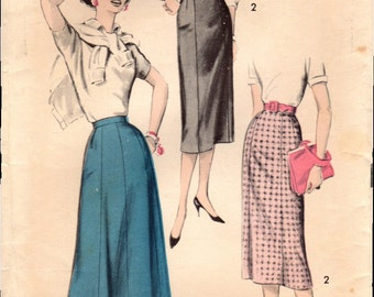 1950s Advance 8623 Vintage Sewing Pattern Misses Slim and Flared Skirts Size Waist 24, Waist 28