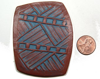 Handmade One of a Kind Reversible CABOCHON in Earthenware, Perfect Focal Bead for Wire or Bead Wrapping, Use Either Side