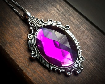 Gothic Necklace with Light Amethyst Cabochon // Gothic Jewelry // Victorian Necklace // Halloween
