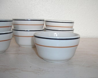 tepco bowls - soup egg custard bowl cup - white with black brown stripes restaurant ware china set of 7 -  small dish - thick pottery china