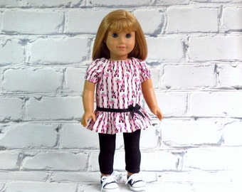 Tunic Top and Stretch Leggings Outfit fits American Girl Doll, Pink Giraffe Peasant Top, Stretch Denim Leggings
