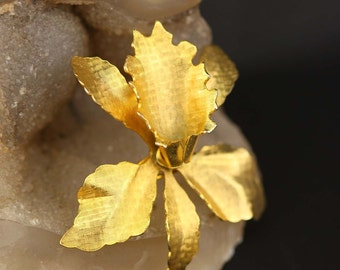 Gold Orchid Flower Brooch - Vintage Costume Jewelry