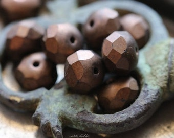 MATTE BRONZE BEAUTY .. 10 Premium Picasso Czech Glass Rondelle Beads 6x9mm (5308-10)