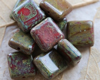 RED LICHEN SQUARES .. 10 Premium Picasso Czech Glass Beads 10.5mm (4971-10)