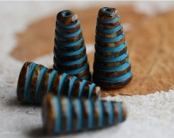 BLUE CHOCOLATE BEEHIVE .. 4 Premium Czech Picasso Glass Beads 19x6mm (4680-4)