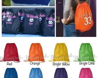 Custom Order With Digitizing Fee Personalized Cinch Sack Drawstring Bag Baseball, Basketball,Hockey, Soccer, Cheer Custom Embroidery