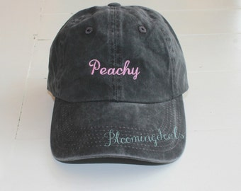 Peachy Baseball Cap Personalized Black Hat Low Profile Pigment Dyed Unconstructed