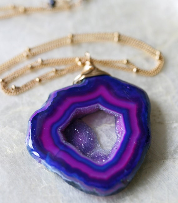Druzy Necklace - Custom Druzy Geode Necklace - Blue Druzy - Purple Druzy - Geode Necklace
