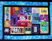 Blue, Black & White Batik  Art Quilt  Modern Wall  Hanging She Can Laugh At The Days To Come Proverbs 31:25