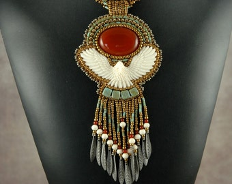 Carnelian with Hand Carved Bone Eagle Bead Embroidered Necklace