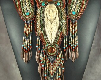 Bead embroidery, Beaded, necklace, native man, carved antler, bugle bead art neckpiece