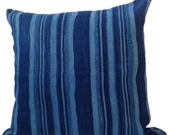 "Vintage African Farmhouse Stripe Indigo Mudcloth Pillow 18"""