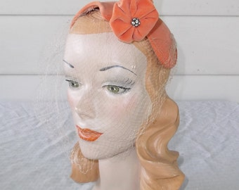 1950s Vintage Orange Velvet Cocktail Hat with Abstract Self Flowers and Rhinestones Mabley & Carew Cincinnati