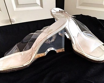 Vintage 1960's-70's Clear Lucite Wedge Heels Open Toe with Sling backs Slip On High Heels . Leather Vamps  Sexy Disco 3 INCH Heel Sz 6.5