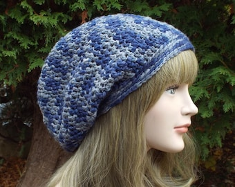 Merino Wool Hat, Blue and Gray Slouchy Beanie, Slouchy Hat, Womens Crochet Hat, Oversized Slouch Beanie, Hipster Hat, Baggy Beanie