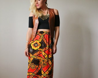 1960s Groovy Flower Skirt >>> Size Extra Small