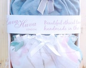 2 Panties Gift Box, Seagreen Panty & Floral Chiffon Panty / Sexy Organic Lingerie / Sheer underwear / ethical clothing / pajama / maternity