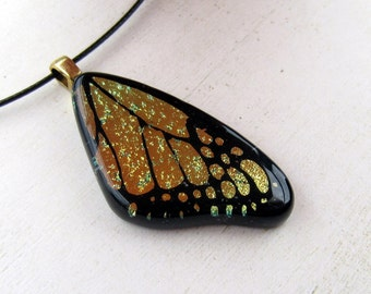 Butterfly Wing Fused Glass Necklace Pendant Gold Mix Medium Necklace