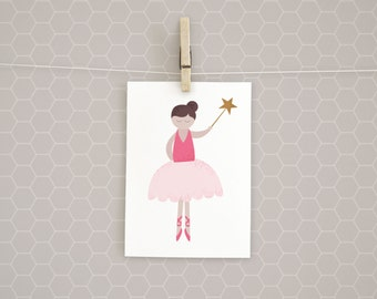Clearance | Art Print | Ballerina Princess | Girl | Kids Wall Art | 5x7