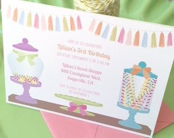 Candyland invitation, candy land birthday, candy birthday invitation, candy land invitation, candy shoppe invitation, sweet shop birthday