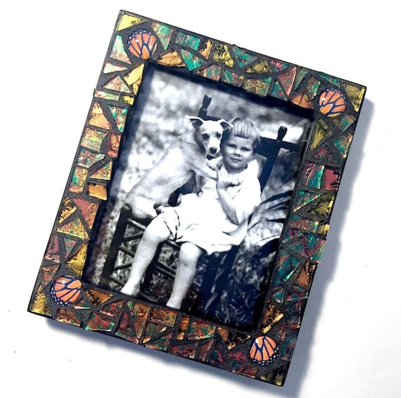 Copper Gold Monarch Butterfly Mosaic Picture Frame, Monarch Wing Cut ...