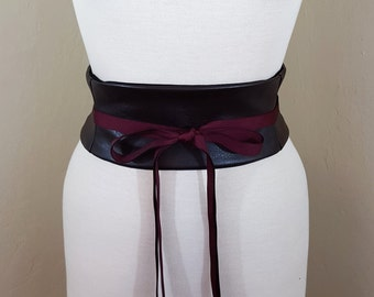 Faux Leather Dark Brown Obi Belt Waist Cincher Corset Any Size Lace Up