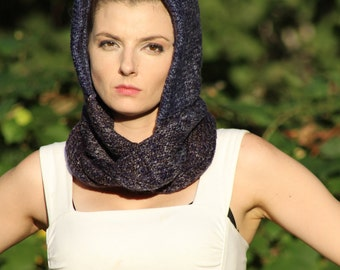 Blue Hooded Infinty Scarf Mobius Skood Knit Cowl Great Gift for Men or Women Stocking Stuffer