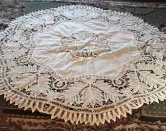Antique Battenburg Lace Lg Round Doily, Tablecloth, Centerpiece White, handmade Victorian