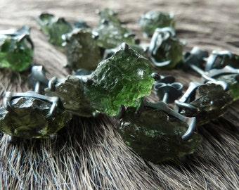 Moldavite earrings   Moldavite studs   Raw moldavite earrings   Tektite jewelry   Healing crystal jewelry