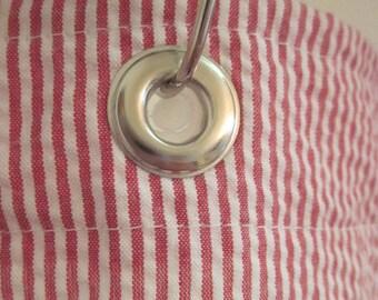 Red and White Stripe Shower Curtain Seersucker