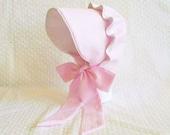 Baby Sun Bonnet Button Bonnet - Rainbow Color Choice - Robert Kaufman seersucker piped in white