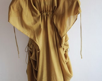 Helen...Maxi Dress  Coton mix silk  (366)  Fit M-L Bohemian /Boho /Long sleeve..Rust Brown mix silk (366)