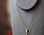 Pendulum Pendant Set, Solid Brass Spike, Tribal, Industrial Necklace set,  Raw Gold Matte Brass,  Gift Box