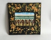 """AUTHENTIC Repurposed Tin Ceiling 5"""" x 7"""" Shabby Chic Green Picture Frame Reclaimed Photo 203-16"""