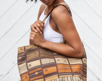 Tote Bag French Roast Chocolate Mocha Java Brown Geometric Print