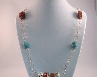 Hand Twisted Sterling Silver Necklace with Turquoise, Bone, Carnelian, and Tibetan Prayer Beads RKS493