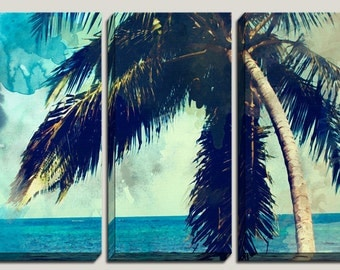 Watercolor Art, Palm Tree, Canvas Art, Watercolor Print, Decorations, Abstract Watercolor, Caribbean, Beach, Coastal, Triptych, Photography