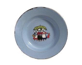 Czech enamelware dish - Blue with Dutch children - 1930s - Child's dish
