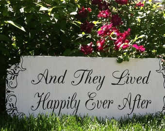 And They Lived HAPPILY EVER AFTER - Here Comes the Bride - Wedding Signs - 24x10 - Double Sided - Flower Girl / Ring Bearer signs!