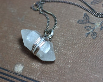 Quartz Crystal Necklace Raw Double Terminated Quartz Point Pendant Antiqued Silver Wire Wrapped Rustic Jewelry