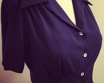 Navy lightweight rayon crepe classic 1940s style Ready to Ship short sleeve blouse S to XL