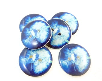 """6 Dandelion Sewing Buttons. Blue Dandelion buttons. Handmade by Me.  Washer and Dryer Safe.  3/4"""" or 20 mm."""