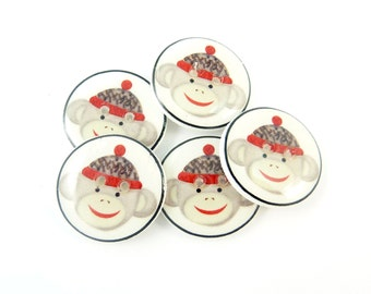 """5 Sock Monkey Buttons. Handmade Buttons.  Sock monkey sewing buttons. 3/4"""" or 20 mm."""
