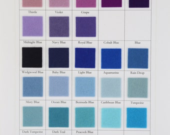 Blue Wool Felt, Purple Wool Felt, Choose Three Sheets,  8 x 12 Inch, 1mm Thick, 100% Merino, Nonwoven Fabric